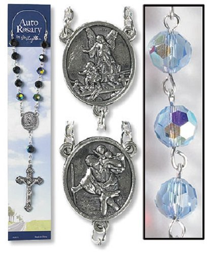 Gifts of Faith Auto Rosary for Car Truck or SUV Crystal Sapphire Blue