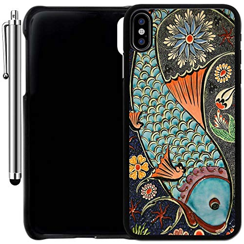 Custom Case Compatible with iPhone Xs MAX (6.5 inch) (Mosaic Colorful Koi Fish) Plastic Black Cover Ultra Slim | Lightweight | Includes Stylus Pen by Innosub
