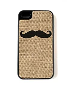 For Apple Iphone 4/4S Case Cover - Hard Capsule Case For Apple Iphone 4/4S Case Cover - Mustache On Burlap