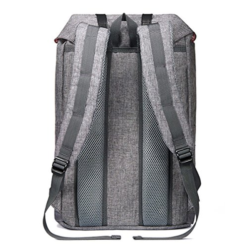 Travel Hiking Student Canvas Gray Laptop Retro black Backpack 7wxqxXvI4R