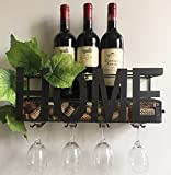 New Arrival Wall Mounted Metal Wine Rack 4 Long Stem Glass holder & Wine Cork Storage