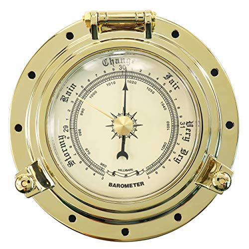 jamgoer Gold Roman Metal Marine Yacht Cutter Collection Barometer-Silver RV Yacht Dial 960~1060hPa