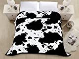 "Premium Thick Blanket with Double Layer Reversible Plush Raschel Blanket Dairy Cow Fur Printed - Supersoft, Warm, Silky, Hypoallergenic, Fade resistant in Queen Size (79""x87"", R04-Milk Cow)"