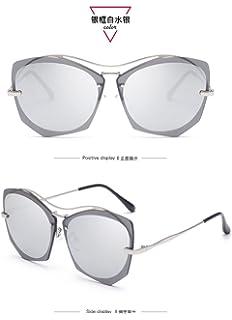Lunettes de soleil CHTIT Miroir Homme Femme Ronde Style de yeux de chat Diamant # TSGL308 (or-gris) Lu0eNld