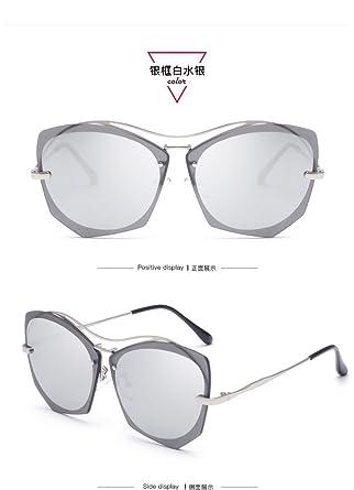 Lunettes de soleil CHTIT Miroir Homme Femme Ronde Style de yeux de chat Diamant # TSGL297 (argenté-argenté) VklC9zaX