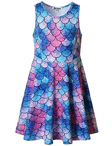 Little Girls Dresses Mermaid Outfits Cute Casual Summer Dress for Kids Size 8 9 -