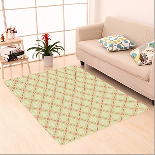 Nalahome Custom carpet Vintage with Coral Pink Flower and Square Shaped Old Fashion Lines Design Egg Shell Light Brown area rugs for Living Dining Room Bedroom Hallway Office Carpet - Fashion Arizona Square