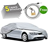 5 Layers Car Cover Waterproof All Weather, Vehicle Cover for Indoor Outdoor Sedan with Windproof Strap