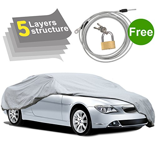 PUMPKIN 5 Layers Car Cover Waterproof All Weather, Vehicle Cover for Indoor Outdoor Sedan with Windproof ()