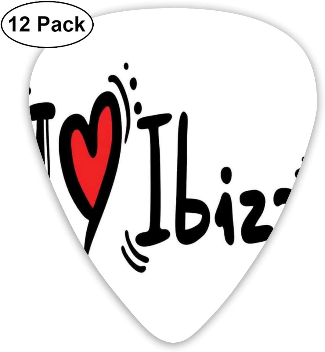 Guitar Picks 12-Pack,I Love Ibiza Hand Lettering Style Holiday ...