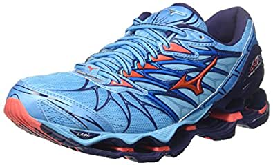 Mizuno Women's Wave Prophecy 7 Shoes, Aquarius/Hot Coral/Patriot Blue, 6.5 US