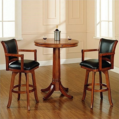 Bowery Hill 3 Piece Pub Set in Medium Brown Oak