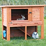Animal Hutch with Enclosure Size: Medium, Color: Brown