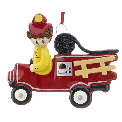 Personalized Fireman and Truck Christmas Ornament for Tree 2018 - Brunette in Firefighter Engine - Rescue Rider Paw Patrol Story Play Boy Toddler Holiday New 2nd 3rd Brown Hair - Free Customization