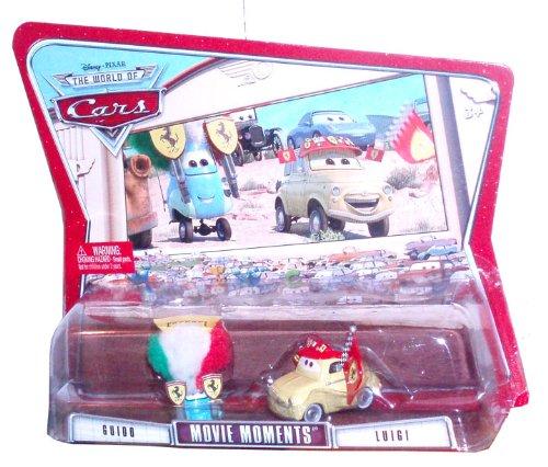 Disney Pixar Cars Movie Moments 2 Pack Car Set - Guido and Luigi (Luigi Ferrari Fans)
