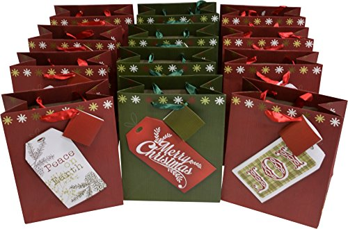 "12 medium christmas gift bags with kraft gift tag designs, set of 12 bags, 8 3/4"" x 7"" x 4"""