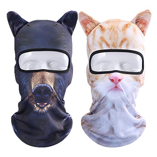 Oumers 2-Pack 3D Animal Balaclava Face Mask with Ears, Breathable Hood Full Face Head Shield for Outdoor Sports Cycling Motorcycle Helmet Liner Ski Costume, One Size Fit All
