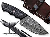7.75'' Beautiful Damascus Knife Made Of Remarkable Damascus Steel and Exotic wood -Its A Hunting Knife With Sheath OHM-058