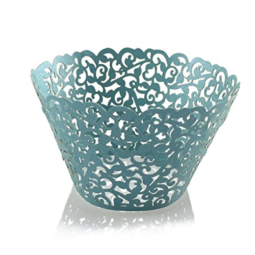 Cupcake Wrappers Filigree Artistic Bake Cake Paper Cups Little Vine Lace Laser Cut Liner Baking Cup Muffin Case Trays for Wedding Party Birthday Decoration Vine Lace 50Pack