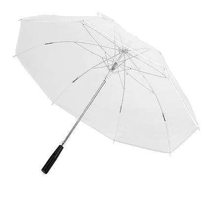 Paraguas de Lluvia Medio Mango Automático Transparente Color LED Cambia a Prueba de Viento con Linterna