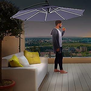 Divine Garden Parasol with Solar Powered Strip Lights