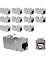 kwmobile 12 st. Keystone-modul för CAT 6A-kabel – 10 Gbit/s skärmad metallhölje snäpplås – nätverkskoppling anslutning – kabelförlängning