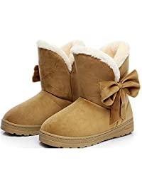 Snow Boots Winter Female Ankle Boots Warmer Plush Bowtie Fur Suede Rubber Flat Slip On Fashion Shoes