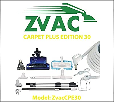 ZVac Carpet Plus Edition 30 – 30ft hose central vacuum cleaner attachment kit for homes with carpets and hardwood floor. Model: ZVacCPE30