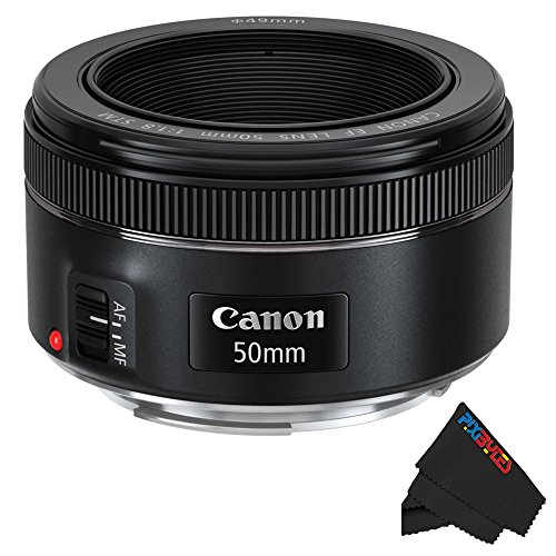 F Mount Lens - Canon EF 50mm f/1.8 STM Lens + Pixibytes Exclusive Microfiber Cleaning Cloth
