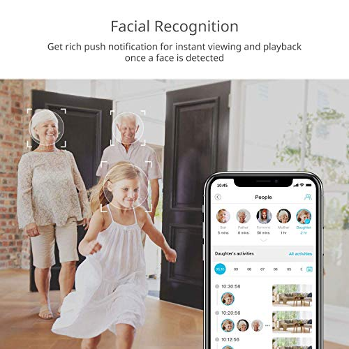 Camera for Home Security, blurams 1080p Indoor Security Camera w/ Facial Recognition, 2-Way Talk, Smart Alerts, Privacy Area, Night Vision, Cloud/Local Storage, Works with Alexa&Google Assistant&IFTTT