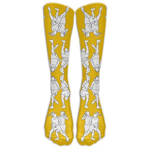 (SDEYR79 Basketball On Yellow Long Dress Socks Soft Sport Comfortable Breathable Over-the-Calf)