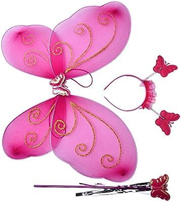 growthci 3pc Conjunto Niñas Disfraz de hada mariposa partido alas ...