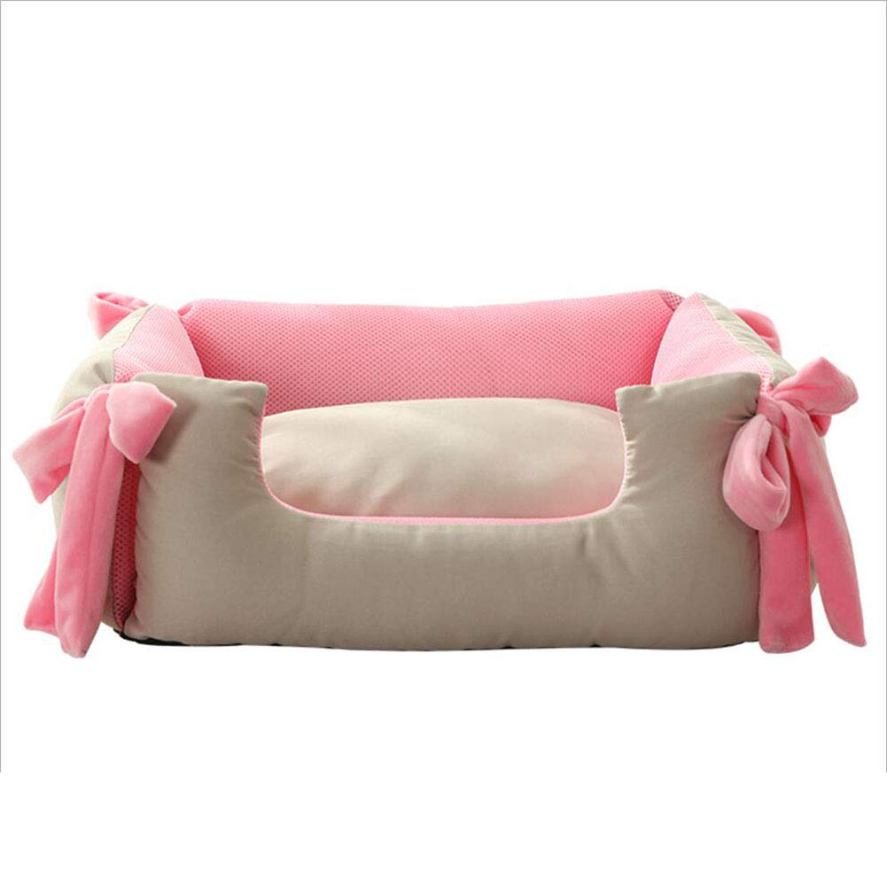 PINK Small PINK Small Cat Nest Pet Bed Cat Kennel Pet Sofa Pet Nest Dog Nest Kennel Four Seasons Universal Square Large and Medium Pet Special Haiming (color   Pink, Size   S)