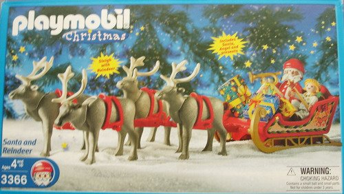 playmobil 3366 santa reindeer with sleigh amazon co uk toys games