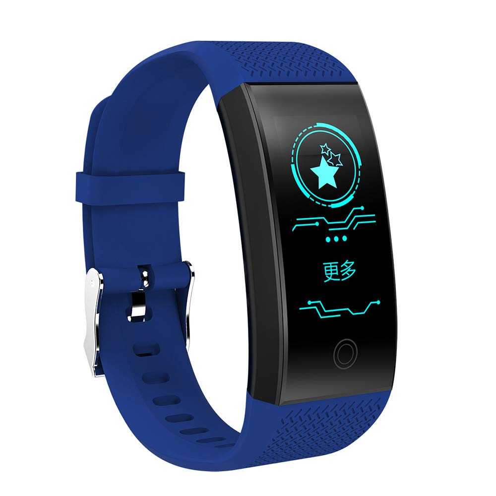 JiaMeng Reloj de presión Arterial QW18 Smart Watch Sports Fitness Activity Rastreador de frecuencia cardíaca(Azul): Amazon.es: Ropa y accesorios