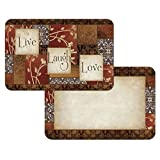 6 Piece Multi Block Patchwork Motif Pattern Placemats Set, Elegant Sayings ''Live, Laugh, Love'' Inspirational Quotes Print Place Mats, Reversible Easy Clean Mat, For All Seasons, Rectangle Shape, Vinyl