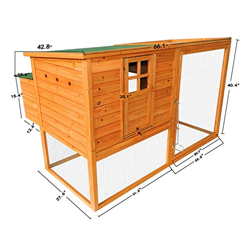 Pawhut 64'' Chicken Coop Hen House w/ Nesting Box and Outdoor Run by PawHut (Image #1)