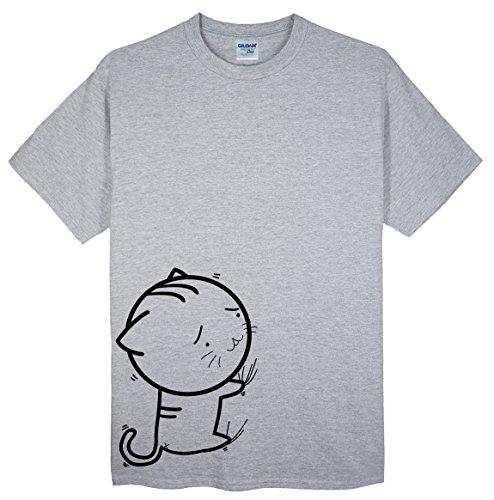 ノベルティ固有のレンジ(ゴジラ千) GODZILLASENN メンズtシャツ 行かないにゃ 柄プリントTシャツ グレー XXXL