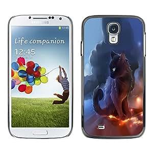 Be Good Phone Accessory // Dura Cáscara cubierta Protectora Caso Carcasa Funda de Protección para Samsung Galaxy S4 I9500 // Black Thunder Cat