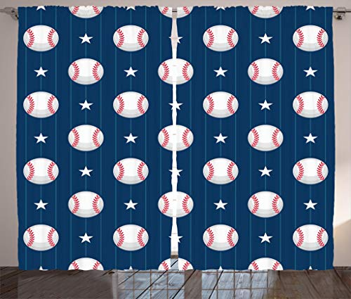 """Ambesonne Sports Curtains, Baseball Patterns on Vertical Striped Background Stars Design, Living Room Bedroom Window Drapes 2 Panel Set, 108"""" X 84"""", Blue Red"""