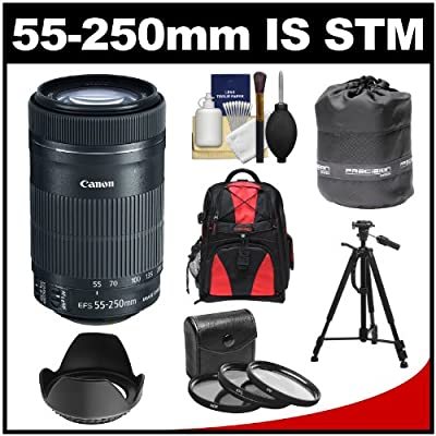 Canon EF-S 55-250mm f/4.0-5.6 IS STM Zoom Lens with 3 UV/CPL/ND8 Filters + Hood + Backpack + Tripod + Kit for EOS 70D, Rebel T3, T3i, T4i, T5, T5i, SL1 DSLR Cameras from Canon Cameras