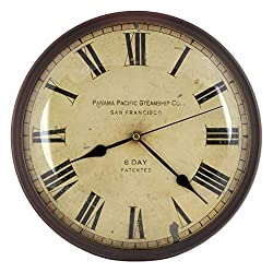 12-inch Vintage Metal Wall Clock, Convex Glass Lens, Quartz Movement, Home Decor - WM0613 Vintage Bronze