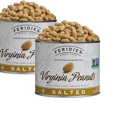 FERIDIES Salted Super Extra Large Virginia Peanuts 40oz Tins - 2 Pack, NonGMO, OU Kosher