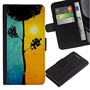 All Phone Most Case / Oferta Especial Cáscara Funda de cuero Monedero Cubierta de proteccion Caso / Wallet Case for Sony Xperia Z1 Compact D5503 // Blue Tree Meaning Sun Painting