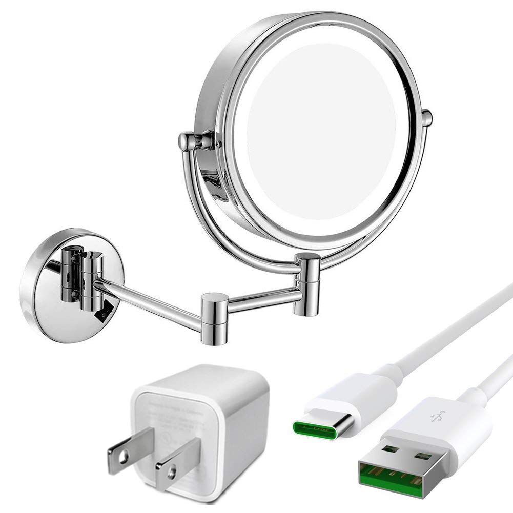GURUN 8.5 Inch LED Lighted Wall Mount Makeup Mirror with 10x Magnification,Chrome Cordless USB Rechargeable 1809DC3(8.5in,10x)