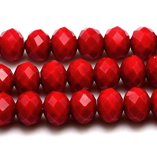 70+ Dark Red Czech Crystal Opaque Glass 6 x 8mm Faceted Rondelle Beads - (HA20790) - Charming Beads
