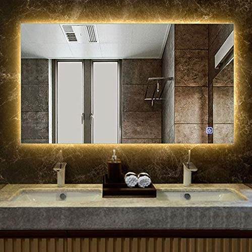 500x700mm Rectangle Illuminated LED Bathroom Mirror with Anti-Fog Features Shaving Mirror Wall -
