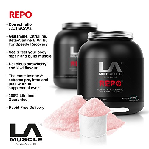 LA Muscle REPO: Pre Workout, Post Workout, BCAAs, Glutamine, Citrulline, Beta-Alanine, Vitamin B6, Pharma Grade, 450g, Delicious Strawberry & Kiwi flavour, Instant mixing, rapid uptake ,45 servings