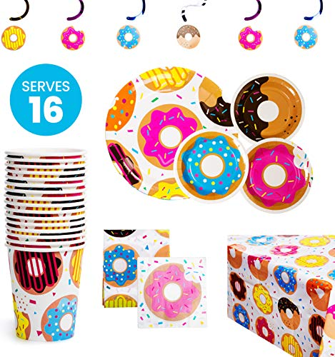 Up Themed Party (BleuZoo Donut Party Supplies - Party Themed Set Birthday Decorations Bundle - Donut Grow Up - Includes: Big and Small Plates, Tablecloth, Danglers, Cups, Napkins (Serves)