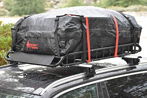 Rocket Straps  Car Top Carrier   Roof Bag Storage   Use Car Carriers Rooftop Luggage Carrier with Roof Racks & Cross Bars   100% Waterproof PVC 15 cuft RoofBag   Inc Carrier Bag & (2) Lashing Straps by Rocket Straps (Image #7)